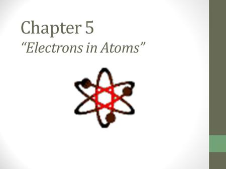 "Chapter 5 ""Electrons in Atoms"". Ernest Rutherford's Model Discovered dense + piece at nucleus Electrons move around it, like planets around sun Mostly."