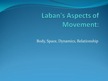 Body, Space, Dynamics, Relationship. BODY ASPECT Definition: What is moving Includes elements of shape, types of movement, jumps, gestures.