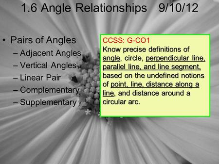 1.6 Angle Relationships 9/10/12 Pairs of Angles –Adjacent Angles –Vertical Angles –Linear Pair –Complementary –Supplementary CCSS: G-CO1 Know precise definitions.