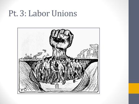 Pt. 3: Labor Unions. What is a Labor Union? An organization of wage earners formed for the purpose of serving the members' interests with respect to wages.
