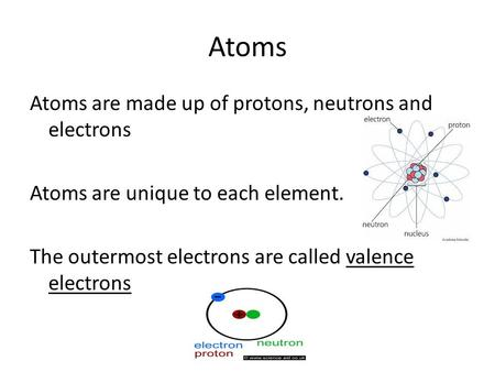 Atoms Atoms are made up of protons, neutrons and electrons Atoms are unique to each element. The outermost electrons are called valence electrons.