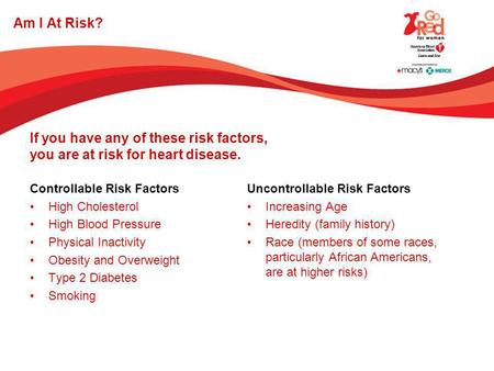 Am I At Risk? Controllable Risk Factors High Cholesterol High Blood Pressure Physical Inactivity Obesity and Overweight Type 2 Diabetes Smoking Uncontrollable.