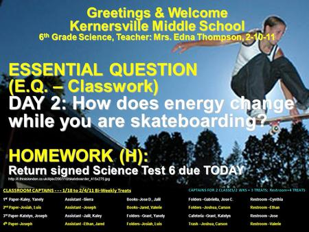 Greetings & Welcome Kernersville Middle School 6 th Grade Science, Teacher: Mrs. Edna Thompson, 2-10-11 ESSENTIAL QUESTION (E.Q. – Classwork) DAY 2: How.