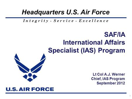 SAF/IA International Affairs Specialist (IAS) Program