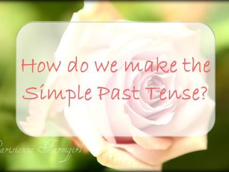 How do we make the Simple Past Tense?. To make the simple past tense, we use: past form only or auxiliary did + base form.