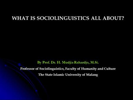 WHAT IS SOCIOLINGUISTICS ALL ABOUT?