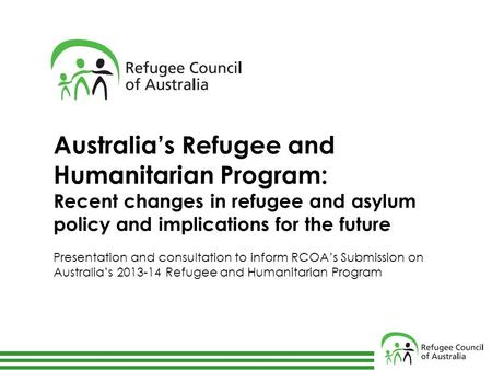 Australia's Refugee and Humanitarian Program: Recent changes in refugee and asylum policy and implications for the future Presentation and consultation.