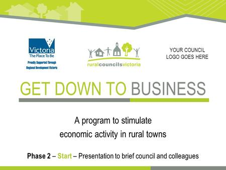 GET DOWN TO BUSINESS A program to stimulate economic activity in rural towns Phase 2 – Start – Presentation to brief council and colleagues YOUR COUNCIL.