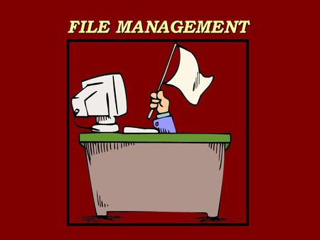FILE MANAGEMENT. Rule 1 Set up folders PROGRAMME Word? Excel? Powerpoint? Access? Music Pix Scans Videos Webs.