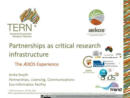 Partnerships as critical research infrastructure The ÆKOS Experience Anita Smyth Partnerships, Licensing, Communications Eco-informatics Facility TERN.