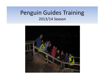 Penguin Guides Training 2013/14 Season. Agenda 1.Welcome 2.About the Little Penguin - Zoe 3.Penguin Guiding - Terry 4.Roster - Fam 5.Q&A 6.Collect Membership.