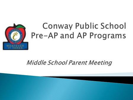 Middle School Parent Meeting.  Pre- AP AP College.