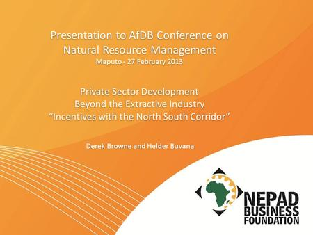 "Presentation to AfDB Conference on Natural Resource Management Maputo - 27 February 2013 Private Sector Development Beyond the Extractive Industry ""Incentives."