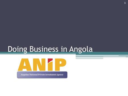Doing Business in Angola 1 Angolan National Private investment Agency.