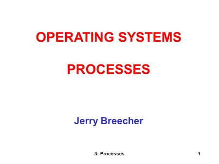 3: Processes1 Jerry Breecher OPERATING SYSTEMS PROCESSES.