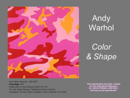 Andy Warhol Color & Shape