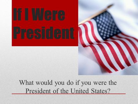 If I Were President What would you do if you were the President of the United States?
