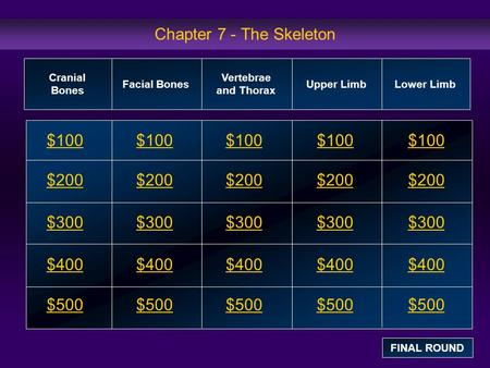 Chapter 7 - The Skeleton $100 $200 $300 $400 $500 $100$100$100 $200 $300 $400 $500 Cranial Bones Facial Bones Vertebrae and Thorax Upper Limb Lower Limb.