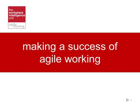 Making a success of agile working 1. what is agile working? 2.