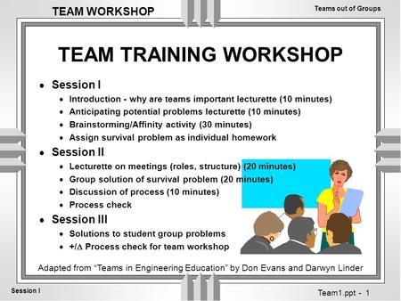 Teams out of Groups Session I TEAM WORKSHOP Team1.ppt - 1 TEAM TRAINING WORKSHOP  Session I  Introduction - why are teams important lecturette (10 minutes)