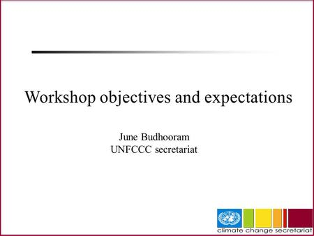 June Budhooram UNFCCC secretariat Workshop objectives and expectations.