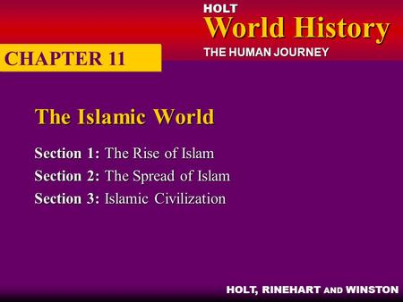 HOLT World History World History THE HUMAN JOURNEY HOLT, RINEHART AND WINSTON The Islamic World Section 1:The Rise of Islam Section 2:The Spread of Islam.