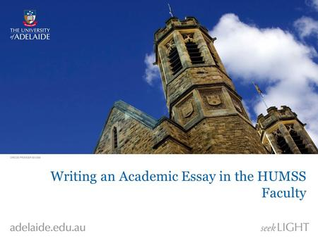 Writing an Academic Essay in the HUMSS Faculty.