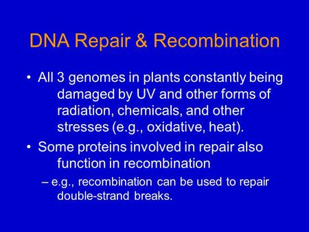 DNA Repair & Recombination All 3 genomes in plants constantly being damaged by UV and other forms of radiation, chemicals, and other stresses (e.g., oxidative,