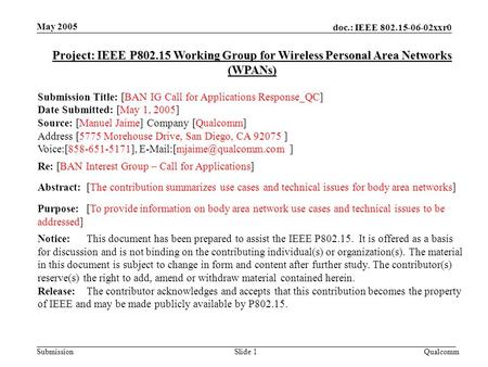 Doc.: IEEE 802.15-06-02xxr0 Submission May 2005 QualcommSlide 1 Project: IEEE P802.15 Working Group for Wireless Personal Area Networks (WPANs) Submission.