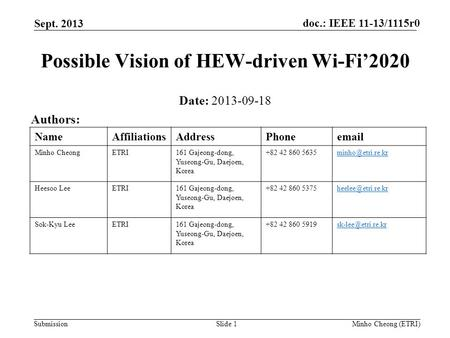 Doc.: IEEE 11-13/1115r0 Submission Sept. 2013 Minho Cheong (ETRI)Slide 1 Possible Vision of HEW-driven Wi-Fi'2020 Date: 2013-09-18 Authors: NameAffiliationsAddressPhoneemail.