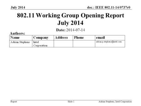 Doc.: IEEE 802.11-14/0737r0 Report July 2014 Adrian Stephens, Intel CorporationSlide 1 802.11 Working Group Opening Report July 2014 Date: 2014-07-14 Authors: