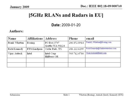 Doc.:IEEE 802.18-09/0007r0 Submission Doc.: IEEE 802.18-09/0007r0 January 2009 Whetten (Boeing), Auluck (Intel), Kennedy (ETS)Slide 1 [5GHz RLANs and Radars.