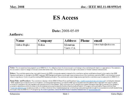 Doc.: IEEE 802.11-08/0592r0 Submission May, 2008 Gabor BajkoSlide 1 ES Access Notice: This document has been prepared to assist IEEE 802.11. It is offered.