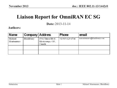 Doc.: IEEE 802.11-13/1442r0 Submission November 2013 Michael Montemurro, BlackBerrySlide 1 Liaison Report for OmniRAN EC SG Date: 2013-11-14 Authors: