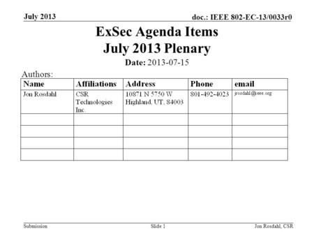 Submission doc.: IEEE 802-EC-13/0033r0 July 2013 Jon Rosdahl, CSRSlide 1 ExSec Agenda Items July 2013 Plenary Date: 2013-07-15 Authors: