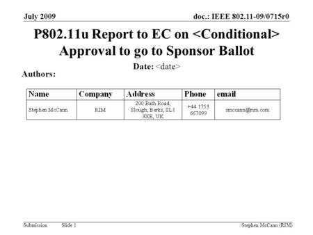 Doc.: IEEE 802.11-09/0715r0 Submission July 2009 Stephen McCann (RIM) Slide 1 P802.11u Report to EC on Approval to go to Sponsor Ballot Date: Authors: