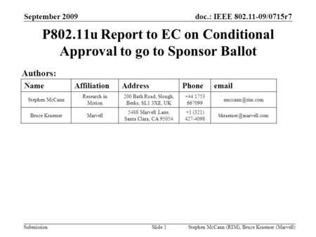 Doc.: IEEE 802.11-09/0715r7 Submission September 2009 Stephen McCann (RIM), Bruce Kraemer (Marvell) P802.11u Report to EC on Conditional Approval to go.