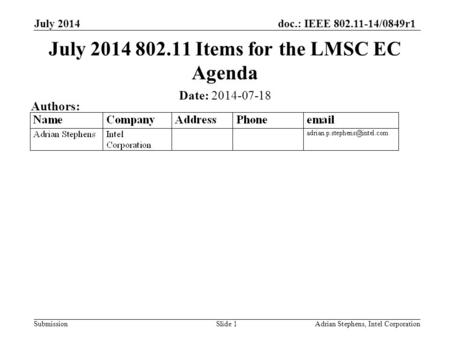 Doc.: IEEE 802.11-14/0849r1 Submission July 2014 Adrian Stephens, Intel CorporationSlide 1 July 2014 802.11 Items for the LMSC EC Agenda Date: 2014-07-18.