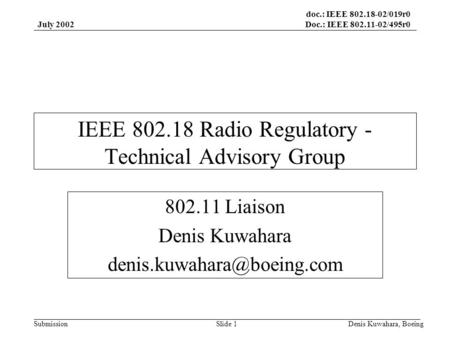 Doc.: IEEE 802.18-02/019r0 Doc.: IEEE 802.11-02/495r0 Submission July 2002 Denis Kuwahara, BoeingSlide 1 IEEE 802.18 Radio Regulatory - Technical Advisory.