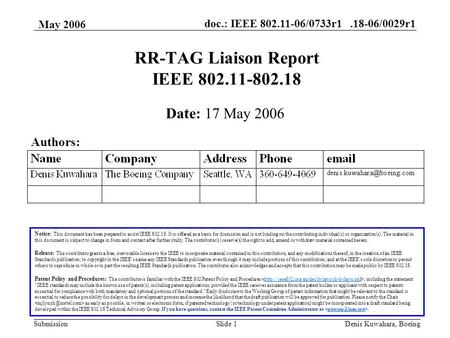 Doc.: IEEE 802.11-06/0733r1.18-06/0029r1 Submission May 2006 Denis Kuwahara, BoeingSlide 1 RR-TAG Liaison Report IEEE 802.11-802.18 Notice: This document.
