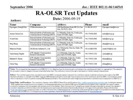 Doc.: IEEE 802.11-06/1465r0 Submission September 2006 K. Kim et al.Slide 1 RA-OLSR Text Updates Notice: This document has been prepared to assist IEEE.