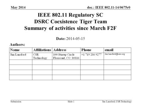 Doc.: IEEE 802.11-14/0675r0 Submission May 2014 Jim Lansford, CSR TechnologySlide 1 IEEE 802.11 Regulatory SC DSRC Coexistence Tiger Team Summary of activities.