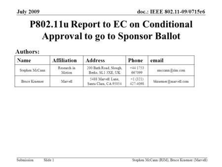 Doc.: IEEE 802.11-09/0715r6 Submission July 2009 Stephen McCann (RIM), Bruce Kraemer (Marvell) Slide 1 P802.11u Report to EC on Conditional Approval to.