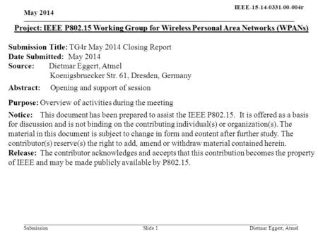 IEEE-15-14-0331-00-004r15- 13-0310-00-004q Submission May 2014 Dietmar Eggert, AtmelSlide 1 Project: IEEE P802.15 Working Group for Wireless Personal Area.