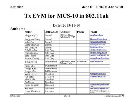 Doc.: IEEE 802.11-13/1367r0 Submission Nov 2013 Mingguang Xu, et. Al.Slide 1 Tx EVM for MCS-10 in 802.11ah Date: 2013-11-10 Authors: