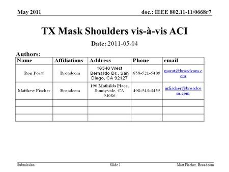 Doc.: IEEE 802.11-11/0668r7 SubmissionMatt Fischer, Broadcom TX Mask Shoulders vis-à-vis ACI Date: 2011-05-04 Authors: May 2011 Slide 1.