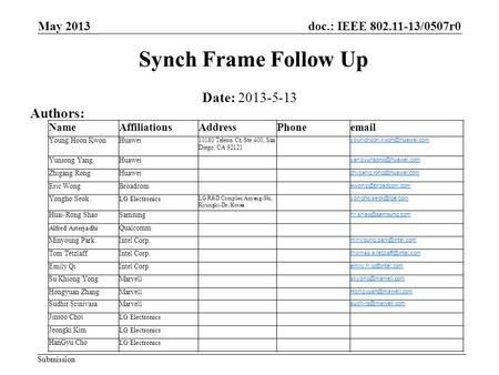 Doc.: IEEE 802.11-13/0507r0 Submission Synch Frame Follow Up Date: 2013-5-13 Authors: May 2013 NameAffiliationsAddressPhoneemail Young Hoon KwonHuawei.