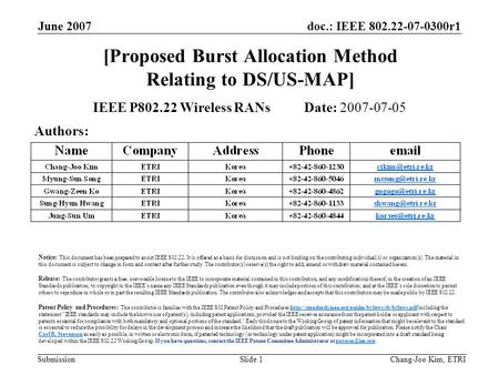 Doc.: IEEE 802.22-07-0300r1 Submission June 2007 Chang-Joo Kim, ETRISlide 1 [Proposed Burst Allocation Method Relating to DS/US-MAP] IEEE P802.22 Wireless.