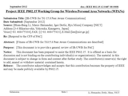 Doc.: IEEE 802.15-12-0487-00-0008 Submission September 2012 Li, Hernandez, Dotlic, Miura, NICT Slide 1 Project: IEEE P802.15 Working Group for Wireless.