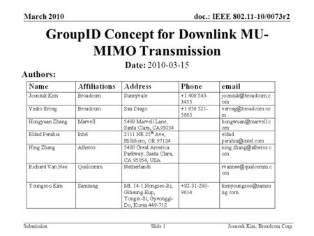 Doc.: IEEE 802.11-10/0073r2 Submission March 2010 Joonsuk Kim, Broadcom Corp.Slide 1 GroupID Concept for Downlink MU- MIMO Transmission Date: 2010-03-15.